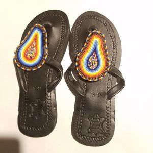 NWT Leather Beaded Summer Slippers/Sandals-sz 9